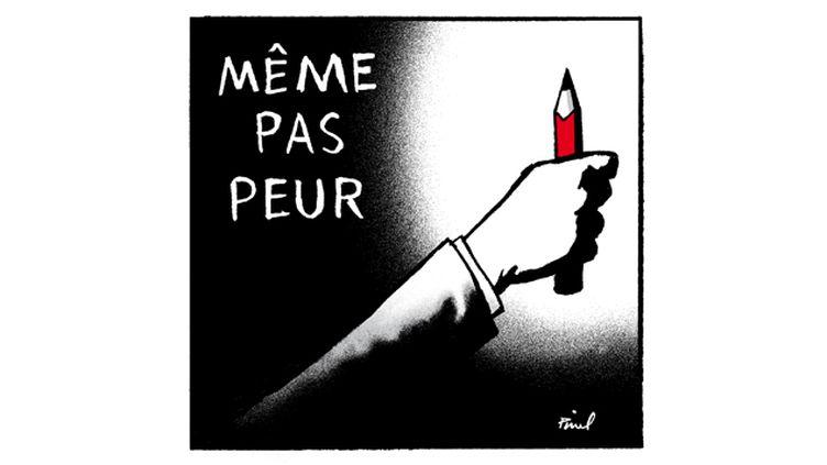 """(Le logo du manifeste """"Même pas peur"""". © Dessin Hervé Pinel)"""