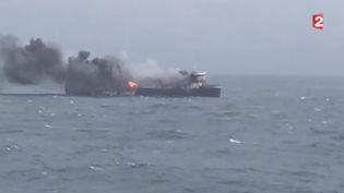"""Le ferry """"Norman Atlantic"""", le 29 décembre 2014. ( FRANCE 2)"""