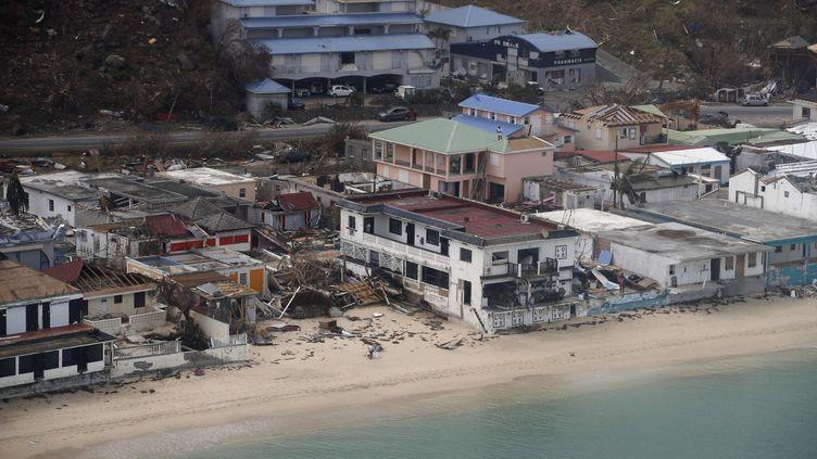 L'île de Saint-Martin après le passage de l'ouragan Irma, le 12 septembre 2017. (ENA-POOL / SIPA / AP)