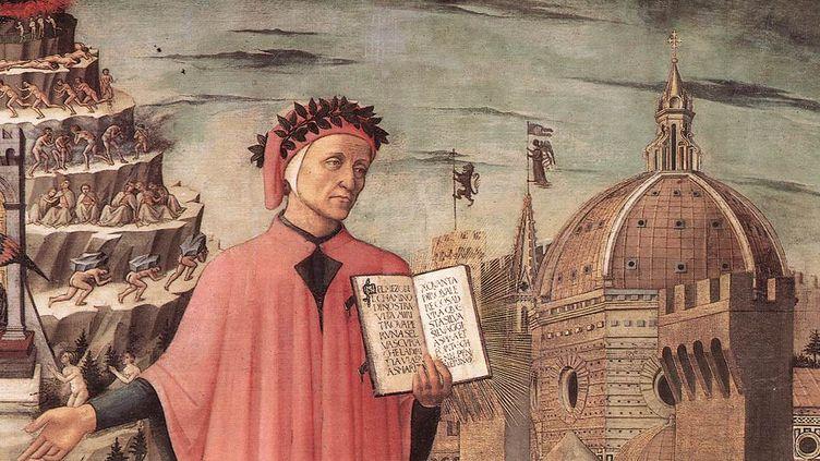 """Dante, une des """"trois couronnes"""" florentines. Détail d'un incipit deDomenico di Michelino. Florence, 1465 (Par Domenico di Michelino, Public Domain)"""