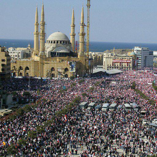 Manifestation anti-syrienne au centre-ville de Beyrouth le 14 mars 2005 (RAMZI HAIDAR / AFP)