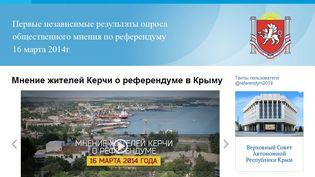 Capture d'écran du siteReferendum2014.ru, dédié au référendum en Crimée sur le rattachement à la Russie, le 11 mars 2014. (  FRANCETV INFO )