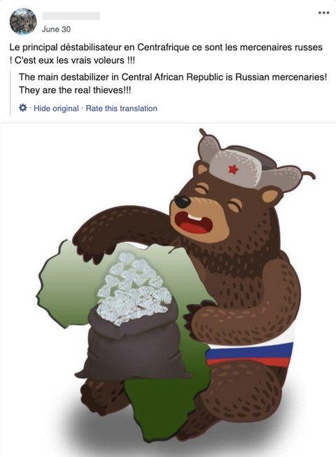 Capture d'écran d'un post publié par l'un des comptes supprimés par Facebook dans le cadre du démantèlement de trois réseaux de désinformationdont un lié à l'armée française. (FACEBOOK)