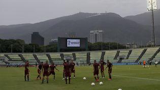 L'équipe nationale de football du Venezuela à l'entraînement avant son match d'éliminatoires pour la Coupe du monde 2022 contre l'Uruguay, le 8 juin 2021 à Caracas (MANAURE QUINTERO / POOL / AFP)