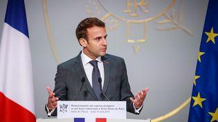Emmanuel Macron s'exprime à Paris, le 18 avril 2019. (CHRISTOPHE PETIT TESSON / POOL / AFP)