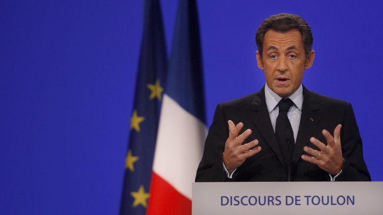 Nicolas Sarkozy, le 25 septembre 2008 à Toulon. (JEAN-PAUL PELISSIER / REUTERS)