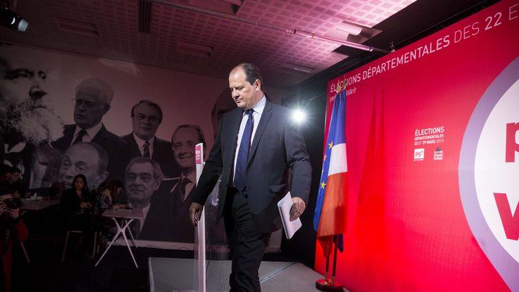 Jean-Christophe Cambadélis, premier secrétaire du PS, au soir du premier tour des élections départementales, le 22 mars 2015. (MAXPPP)
