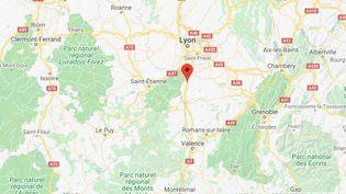 La manifestation s'est dérouléà hauteur du péage de Reventin-Vaugris sur l'autoroute A7. (GOOGLE MAPS / FRANCETV INFO)