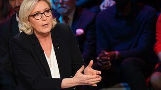 Marine Le Pen lors d'un débat pour les élections européennes, à Boulogne-Billancourt (Hauts-de-Seine), le 10 avril 2019. (LIONEL BONAVENTURE / AFP)
