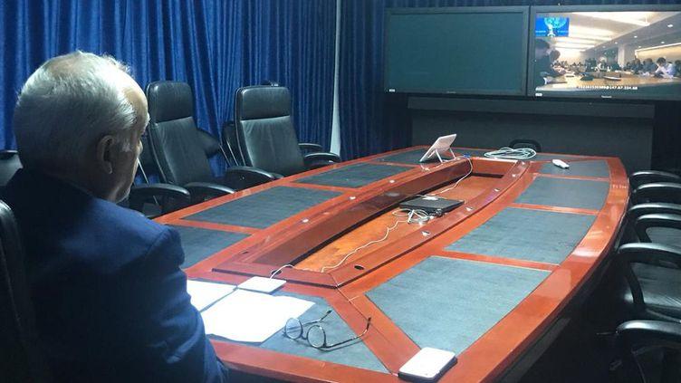 Photo de l'émissaire spécial de l'ONU, Ghassan Salamé, lors de son intervention en visioconférence depuis la Libye auprès des chefs de la diplomatie des 28 pays de l'UE, en marge de l'Assemblée générale de l'ONU à New York, le 24 septembre 2018. (UNSMIL)
