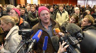 La conférence de presse des bonnets roses à Saint-Brieuc (Côtes-d'Armor), le 14 janvier 2016. (MAXPPP)