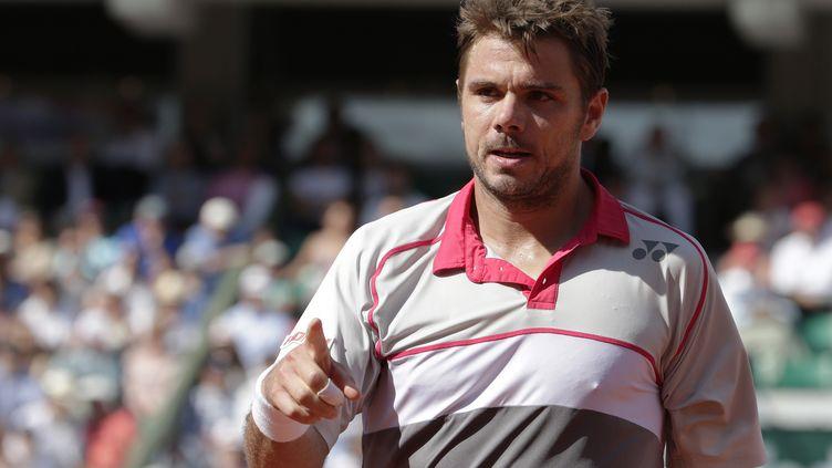 Stan Wawrinka lors de la finale de Roland-Garros face à Novak Djokovic, à Paris, le 7 juin 2015. (KENZO TRIBOUILLARD / AFP)