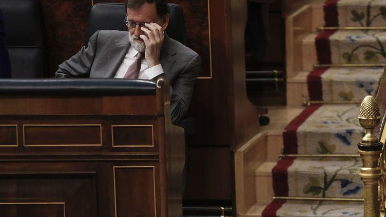 Mariano Rajoy, lors d'une séance au Congrès, le 30 mai 2018 à Madrid (Espagne). (JUAN MEDINA / REUTERS)