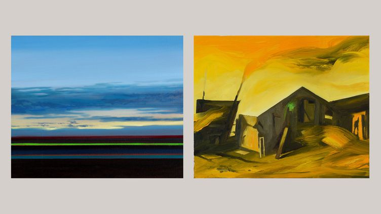 """A gauche, Olivier Masmonteil, """"Paysage"""", 2019 Huile sur toile 38 x 46 cm - A droite,Karine Hoffman, """"Chief mountain"""", 2021 Huile sur toile 40 x 33 cm (A droite © Courtesy Galerie Dix9 Hélène Lacharmoise)"""
