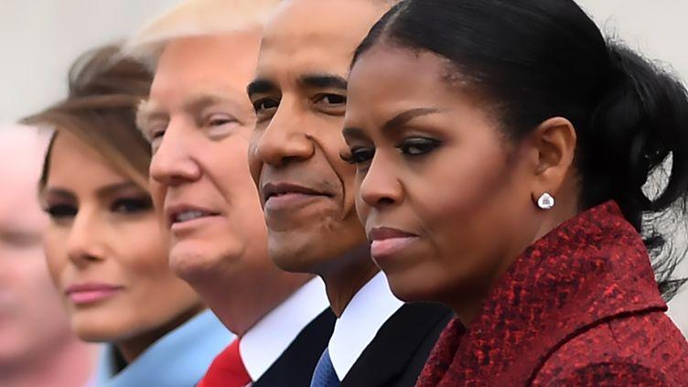 Melania Trump, Donald Trump, Barack Obama et Michelle Obama au Capitol, janvier 2017 (JIM WATSON / AFP)