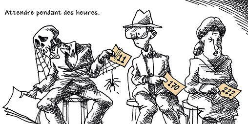 «Dans les difficultés rencontrées, il y a aussi le fait que l'on doive toujours attendre. (...) Vous n'êtes plus qu'un nombre dans une rangée»  (Mana Neyestani - Arte Editions)