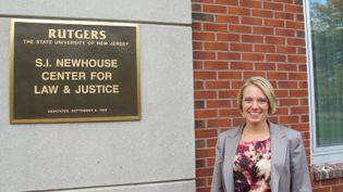 Charis, étudiante en droit de 34 ans, sur le campus de la faculté de droit Rutgers, à Newark(New Jersey, Etats-Unis), le 17 octobre 2012. (MARION SOLLETTY / FTVI)