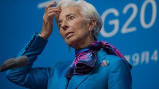 Christine Lagarde, la directrice du FMI, lors d'une conférence de presse en marge du G20 à Hangzhou (Chine), le 5 septembre 2016. (NICOLAS ASFOURI / AFP)