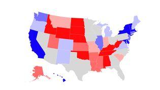 Les sondages par Etat aux Etats-Unis, en octobre 2020. (ROBIN PRUDENT / FRANCEINFO)