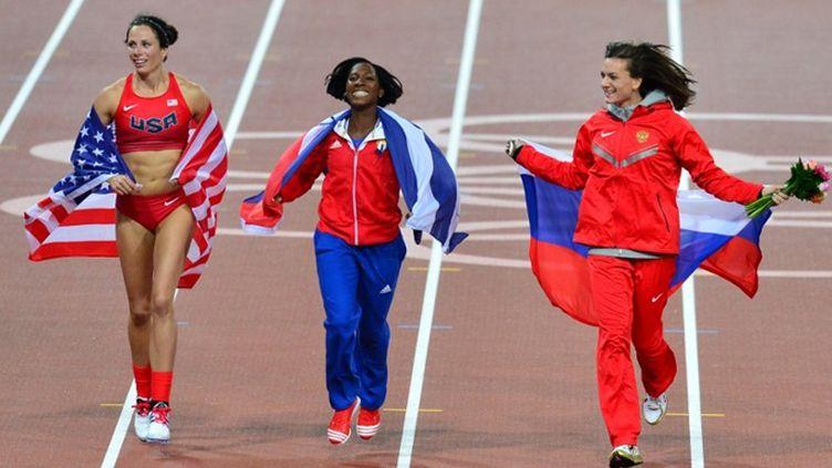 L'Américaine Jennifer Suhr, la Cubaine Yarisley Silva et la Russe Yelena Isinbayeva