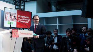 Benoît Hamon à son QG de campagne, le 11 février à Paris (REVELLI-BEAUMONT/SIPA)