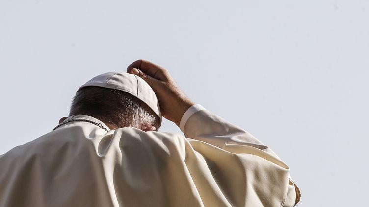 Le pape François au Vatican, de dos, le 30 août 2017. (MAXPPP)