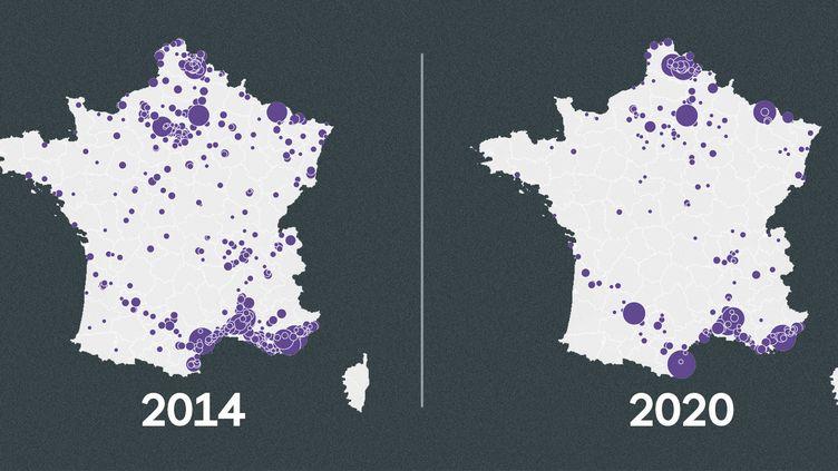 L'évolution du nombre de conseillers municipaux RN entre 2014 et 2020. (FRANCEINFO)