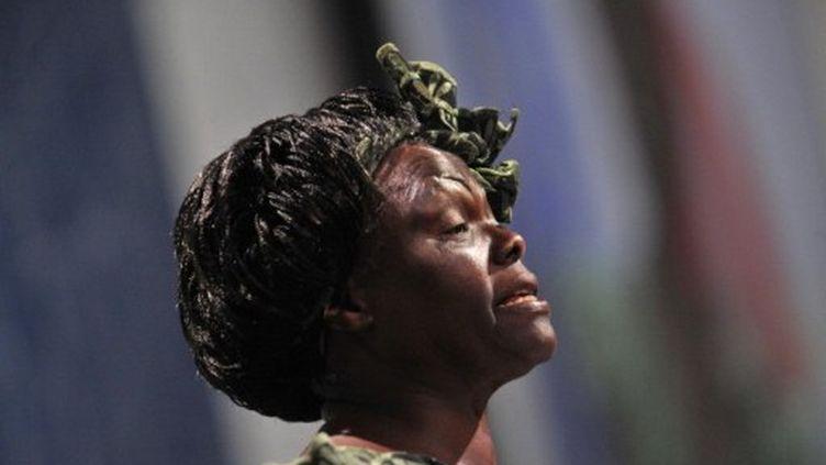 La Kenyane Wangari Maathai, lauréate du prix Nobel de la Paix, à Copenhague le 15 décembre 2009. (ATTILA KISBENEDEK / AFP)