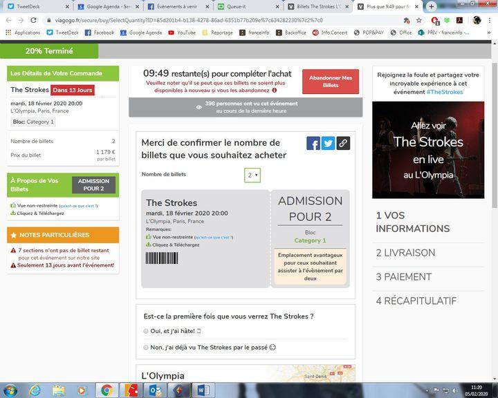 Les places pour le concert des Strokes à l'Olympia dépassaient il y a deux semaines les 1.000 euros. (Capture d'écran Viagogo.fr)