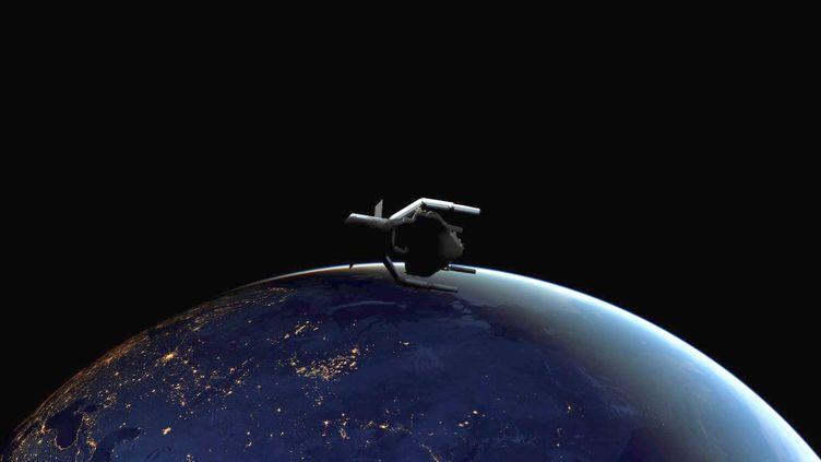 Adrios sera la première mission spatiale à retirer un débris de l'orbite, dont le lancement est prévu en 2025. (ESA / CLEARSPACE SA / HANDOUT / MAXPPP)