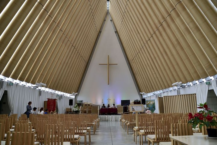 La cathédrale en carton construite par Shigeru Ban à Christchurch  (Marty Melville / AFP)
