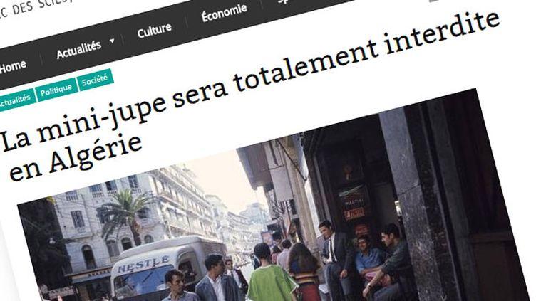 (Un faux article affirme que l'Algérie va interdire les mini-jupes © capture d'écran du site El-Manchar)