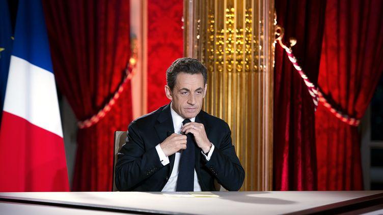Nicolas Sarkozy lors de son intervention télévisée du 29 janvier 2012. (LIONEL BONAVENTURE / POOL / AFP)