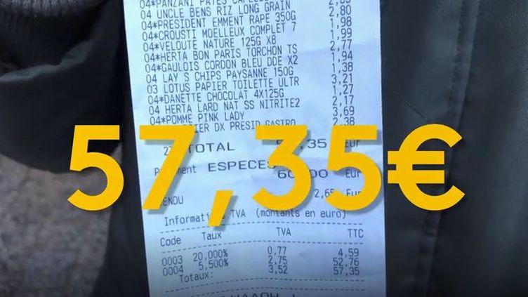 Liste de courses, loi alimentation. (Franceinfo)