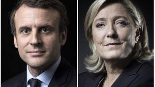 Montage de portraits d'Emmanuel Macron et de Marine Le Pen. (JOEL SAGET / AFP)