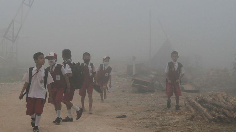 Des enfants sur le chemin de l'école passent, le 14 octobre 2019, à Palembang (Indonésie) dans des feux de forêts dont les fumées provoquent des émissions à effet de serre et aggravent le réchauffement climatique. (ABDUL QODIR / AFP)