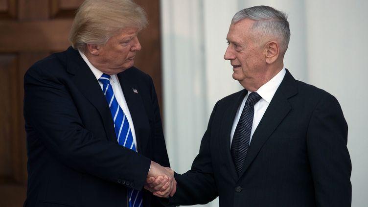 Donald Trump serre la main de l'ex-général James Mattis, quidevrait prendre la tête du Pentagone, le 19 novembre 2016 à Bedminster (Etats-Unis). (DREW ANGERER / GETTY IMAGES NORTH AMERICA / AFP)