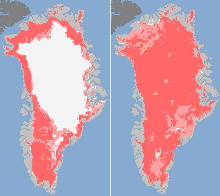 Fonte de la calotte glacière entre le 8 et le 12 juillet 2012, observée par des satellites de la Nasa. En rose foncé, les zones de fonte des glaces (détectées par deux ou trois satellites). En rose clair, les zones de fonte probable (détectées par au moins un satellite). (NASA / AFP)