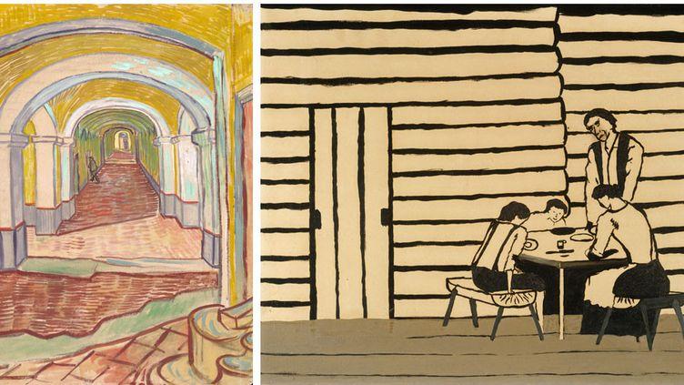 """A gauche,Vincent Van Gogh, """"Couloir dans l'asile"""", septembre 1889, Metropolitan Museum of Art legs d'Abby Aldrich Rockefeller, 1948 - A droite,Horace Pippin, """"Family Supper (Saying Grace)"""", 1946, Metropolitan Musum of Art, legs de Jane Kendall Gingrich, 1982  (CC0)"""