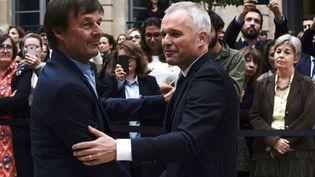 Nicolas Hulot et François de Rugy, le 4 septembre 2018, au ministère de l'Ecologie, à Paris. (PHILIPPE LOPEZ / AFP)