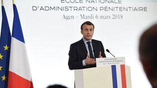 Le chef de l'Etat Emmanuel Macron en visite à Agen (Lot-et-Garonne), le 6 mars 2018. (MEHDI FEDOUACH / AFP)
