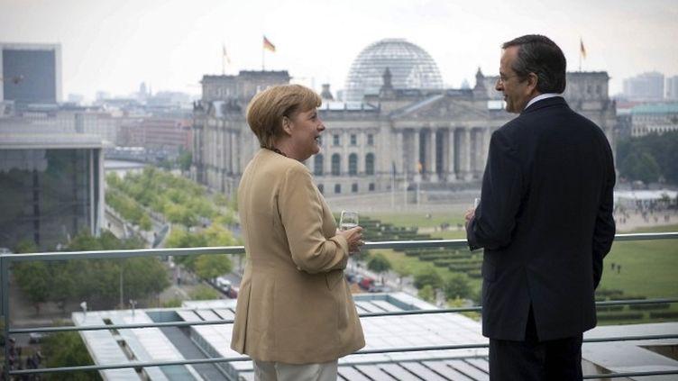A.Merkel et A.Samaras devant le Bundestag. L'Allemagne accordera-t-elle un délai à la Grèce ? (GUIDO BERGMANN / BUNDESREGIERUNG / AFP)