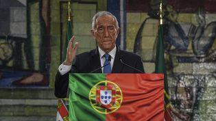 Le président portugais,Marcelo Rebelo de Sousa, lors de son discours de victoire à la suite de sa réélection, le 24 janvier 2021 à Lisbonne. (PATRICIA DE MELO MOREIRA / AFP)