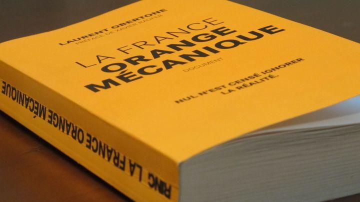 """La couverture du livre """"La France Orange mécanique"""", de Laurent Obertone. (BASTIEN HUGUES / FRANCETV INFO)"""