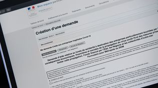 La demande pour bénéficier du fonds de solidarité destiné aux entreprises fragilisées par le Covid-19 se fait sur le siteimpots.gouv.fr, comme ici illustré le 31 mars 2020. (ROMAIN LONGIERAS / HANS LUCAS / AFP)