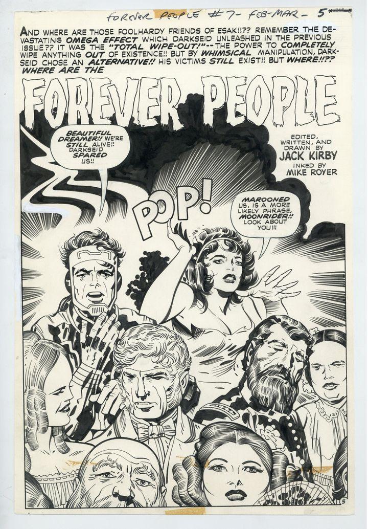 Jack Kirby (dessin) et Mike Royer (encrage), Forever People #7 (splash page 5), Mars 1972, DC Comics encre de Chine sur papier (collection privée)
