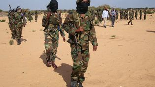 Des combattants islamistes shebab, le 13 février 2012, à Elasha Biyaha(Somalie). (MOHAMED ABDIWAHAB / AFP)