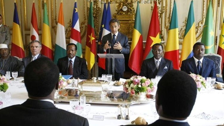 Nicolas Sarkozy déjeune à l'Elysée avec 13 chefs d'Etat africains (13 juillet 2010) (AFP / Rémy de la Mauvinière)