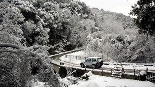 Route entre le village de Bocognano et le col de Scalella, près d'Ajaccio en Corse, le 15 janvier 2017. (Photo d'illustration) (MAXPPP)