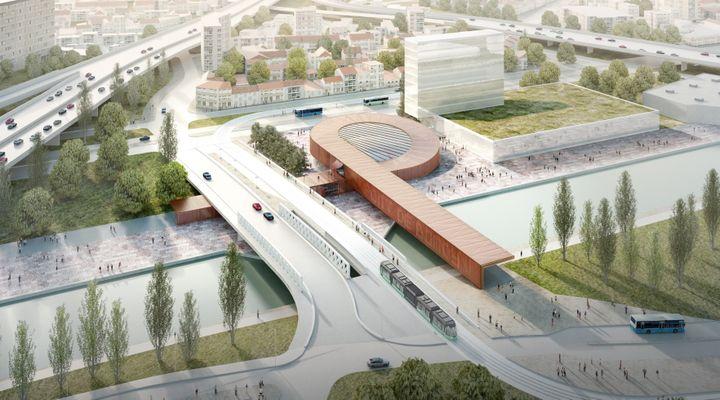 Une vue d'artiste de la future gare Pont de Bondy, (ligne 15 Est) par BIG et Silvio d'Ascia (visuel du concours). (DOMINIQUE PERRAULT ARCHITECTURE / SOCIETE DU GRAND PARIS)